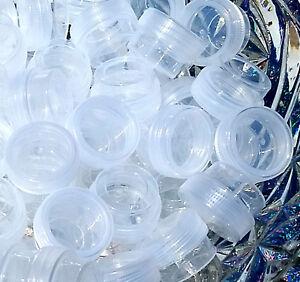 100-Tiny-1-4oz-Mini-Clear-Plastic-JAR-Screw-Clear-CAP-Lid-Top-Container-1TSP-USA
