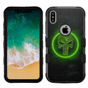 for-iPhone-Xs-10s-X-10-Shockproof-Rugged-Hard-Rubber-Impact-Case-Punisher-GRN
