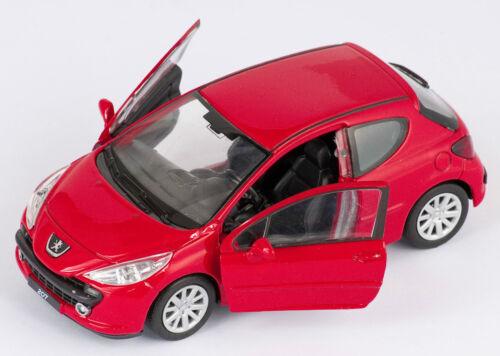 BLITZ VERSAND Peugeot 207 rot red Welly Modell Auto 1:34 NEU /& OVP