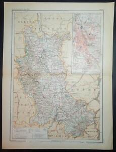 100% De Qualité 1895 Antique Print Couleur Carte De Loire St. Étienne France Français Carte-afficher Le Titre D'origine