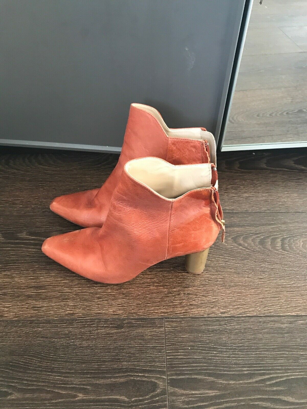 ZARA TAN LEATHER BOOTS SIZE 39