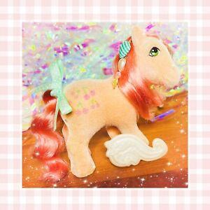 ❤️My Little Pony MLP G1 Vtg So Soft Ponies Flocked Cherries Jubilee Peach Fuzz❤️