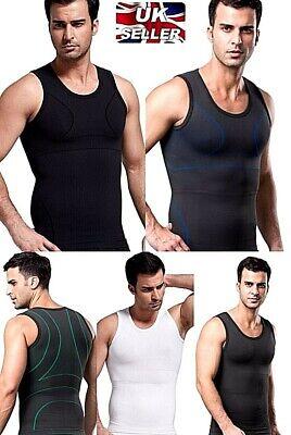 UK Mens Compression Tank Man Boobs Moobs Male Breasts Gynecomastia Shaper Vest