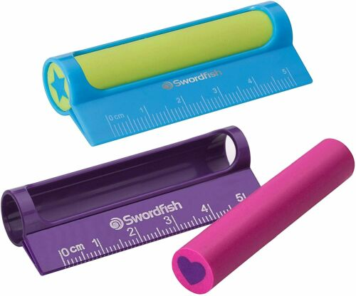 Swordfish Lineout Mini Eraser Ruler Assorted Colours Smudge Free Rubber