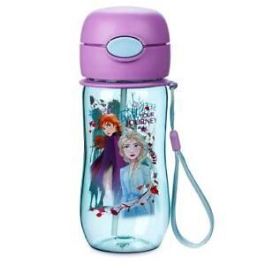 NEW-Disney-Store-Frozen-2-Elsa-Water-Bottle-with-Straw-12oz-Flip-Top-Anna-Olaf