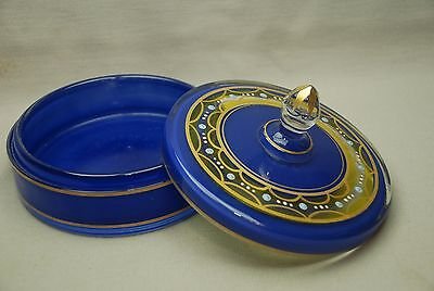 Art Deco Blue & Gold Painting Glass Dresser Powder Jar or Covered Candy Dish