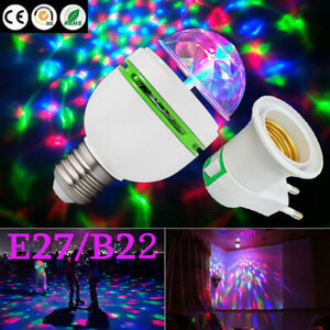 Disco Stage RGB Lamp Bulb Rotating Party Xmas 2-Head E27 LED Lights Crystal Ball