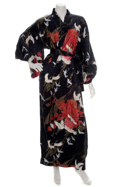 Grúa De Seda  Estampado Largo Negro Kimono japonés  venta con alto descuento