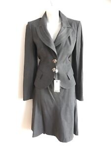 Made-in-Italy-Sz-44-Maria-Grazia-Severi-Gray-Wools-Skirt-Suit-NWT