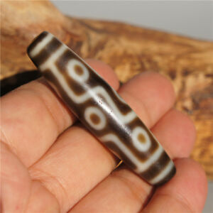 Collectible-Tibetan-DZI-Bead-High-Oily-Old-Agate-9-Eye-Amulet-Pendant-57-13-5mm