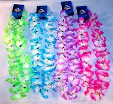 6 TWO TONE ASST COLOR HAWAIIAN FLOWER LEIS luau lei party hwaii lays new lay