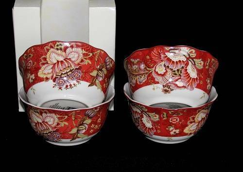 4 222 Fifth GABRIELLE RED Floral Jacobean Deep Cereal Bowls Scalloped Edges NIB