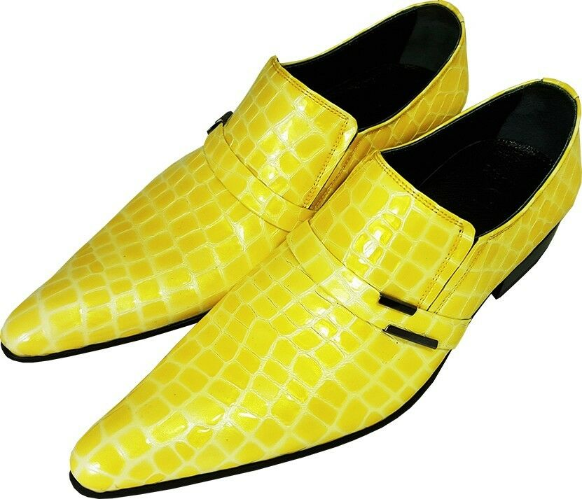 Original Chelsy - Italienischer Designer Party Slipper Maiskolben Kroko gelb 40