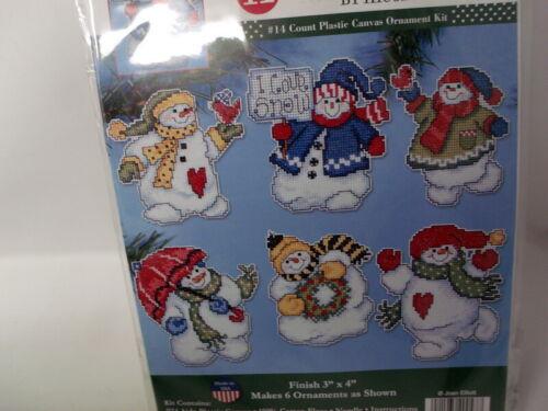 Design Works I LOVE SNOW Snowman Ornaments Cross Stitch 14 Ct Plastic Canvas Kit