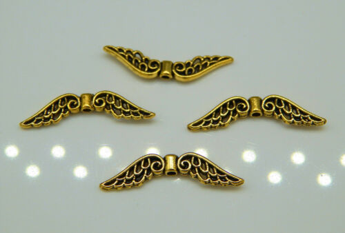 30 große Metall Flügel Engelsflügel 31mm gold antik Durchbruchmuster Perlenengel