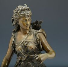 Eutrope Bouret Diana mit Bogen Bronze Skulptur um 1880 Frankreich Figure 69cm