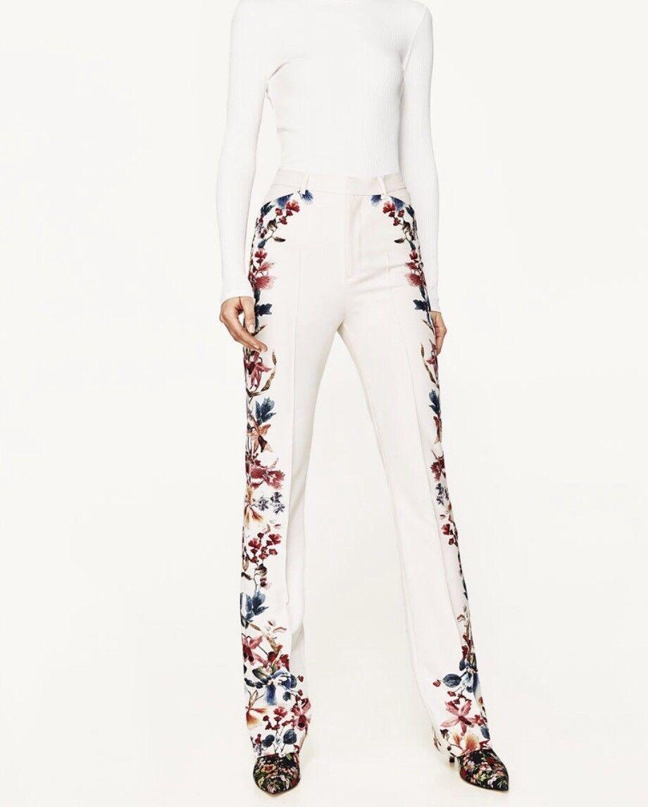 Zara Women Side Printed Flared Trousers Size M NWT
