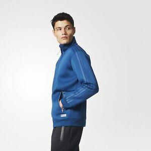 Adidas-Homme-Tactique-Freizeit-Piste-Veste-Bleu-Acier-Neuf-AY8525-XL-Neuf-120