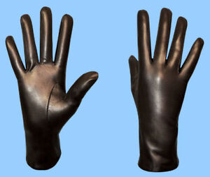 NEW-WOMENS-GENUINE-LAMBSKIN-BLACK-LEATHER-CASHMERE-LINED-GLOVE-HIGHEST-QUALITY