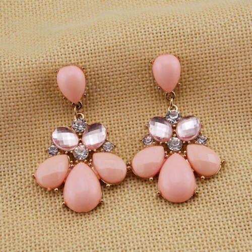 """Ópalo rosa imitación Araña de cristal de estilo vintage y retro pendientes de oro 2.25/"""" de Largo Moda"""
