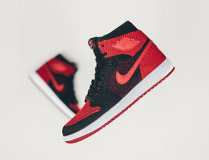 c4db6d9de828 Nike Air Jordan 1 Retro High Flyknit Banned Bred Black Red SZ 14 ...