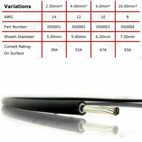 2 x 5 m DC Panneau Solaire Câble 6 mm Fil extensions avec pré-sertis Connecteur