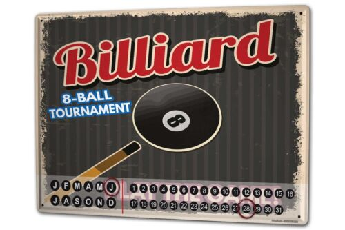Dauer Wand Kalender Retro  Billiard Metall Magnet