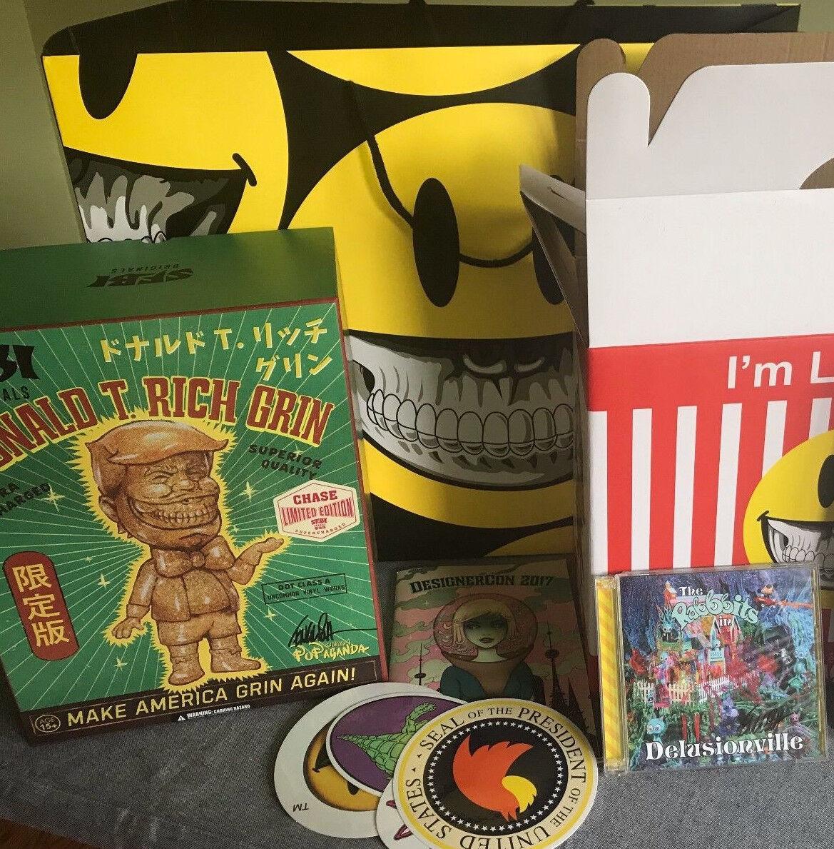 SIGNED GOLD Ron English Donald T Rich Grin sofubi kaiju + CD