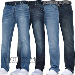 Hombre-Crosshatch-Pierna-Recta-Azul-Oscuro-Vaqueros-Todas-las-Cinturas-amp-Tallas