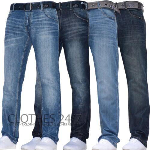 Neu Herren Crosshatch Gerades Bein Dunkelblau Jeans Hose Alle Taillen /& Größen C