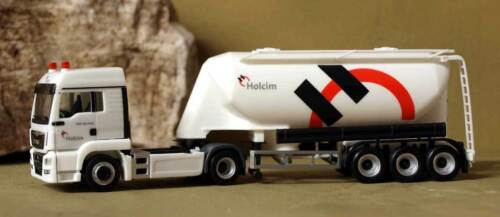 NME 503207 H0 - MAN TGS LX with LIGHTS yellow and SEMI-TRAILER SILOS HOLCIM
