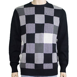 Nwt Mens Geoffrey Beene Awesome Black White Checkered Sweater