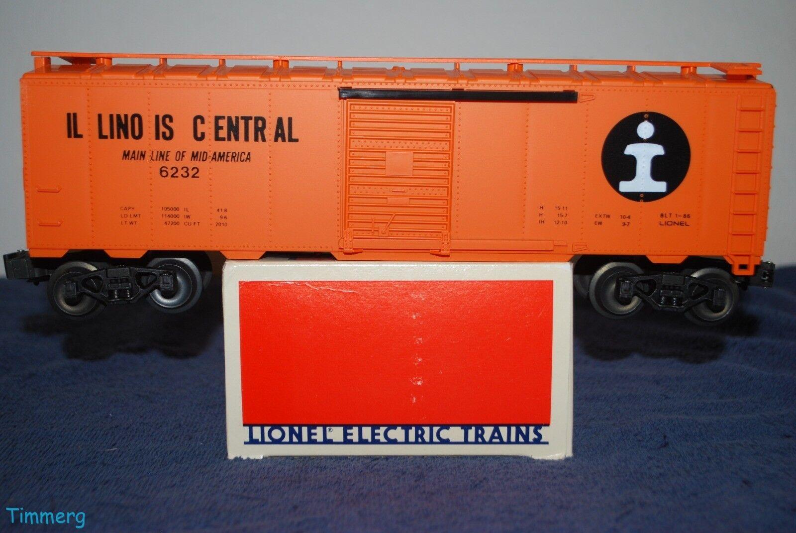 Lionel Trains 6-6232 Ilinois Central Standard  O  Gauge Box Car Scarce MIB  MM