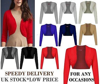 Womens Plain Long Sleeves Cropped Bolero Shrug Top Ladies Cardigan