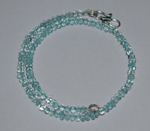 "12-40/"" Strand 925 Sterling Silver Necklace Hadamade Sky Blue Crystal Gemstone"