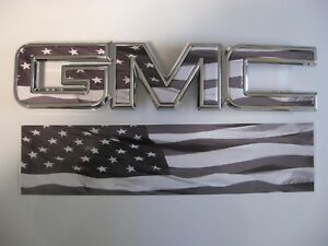 Details about 2014 15 16 17 GMC SIERRA BLACK WHITE AMERICAN FLAG GRILLE  DECAL EMBLEM OVERLAY