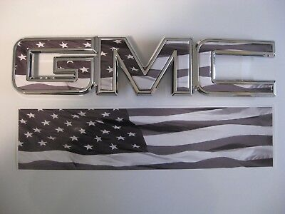 2014 15 16 17 GMC SIERRA AMERICAN FLAG GRILLE GRILL DECAL EMBLEM OVERLAY
