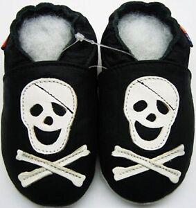 Minishoezoo skeleton black 18-24 m soft sole baby leather shoes