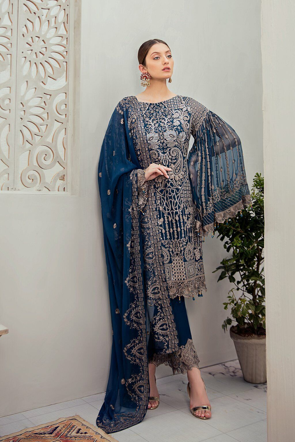 Blue Ladies Stitched Shalwar Kameez 3 piece suit Gift for her embroidery work