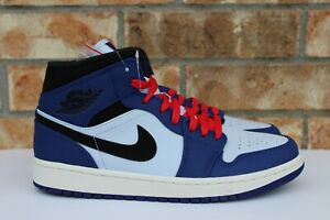 Men s Nike Air Jordan 1 Retro Mid SE Deep Royal Blue Black Red White ... 542561b1f