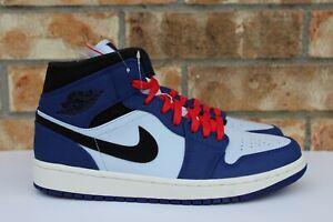 Men s Nike Air Jordan 1 Retro Mid SE Deep Royal Blue Black Red White ... c6fd4652d