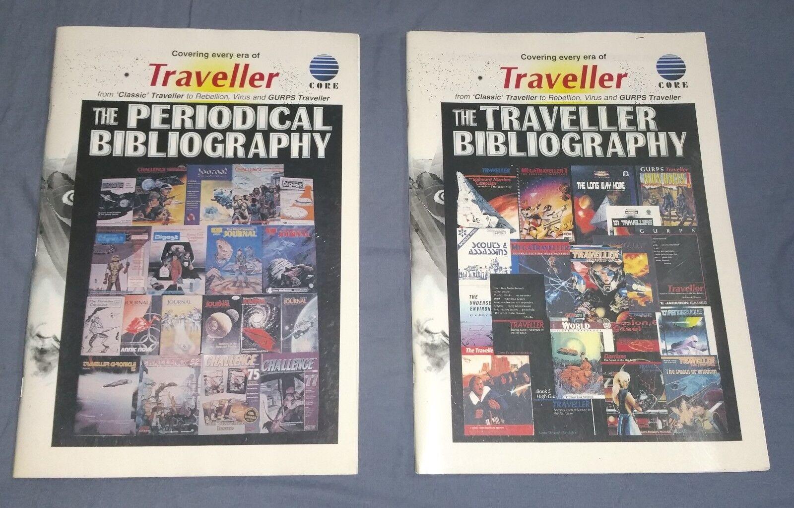 Lot av 2 sällsynta Traveler RPG - böcker Bibliografi och Periodisk bibliografi