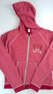 Hard-Rock-Las-Vegas-Hoodie-Jacket-Womens-SZ-M-Long-Sleeve-Faded-Red-Sweatshirt