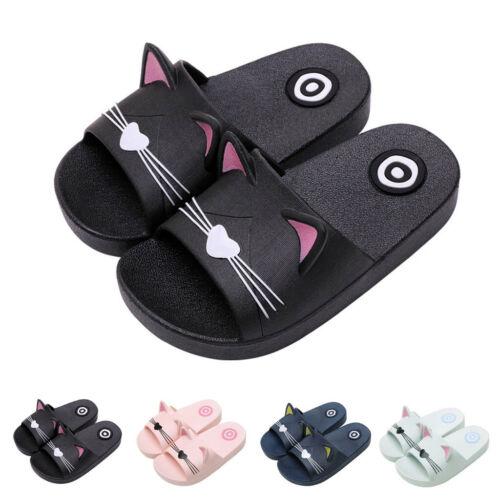 UK Baby Kids Girl/&Boy Home Slippers Cartoon Cat Floor Family Shoes Beach Sandals