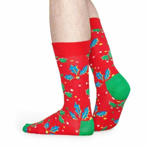 rouge Medium//Large Happy Socks 2-Pack Holly Chaussettes Hommes Noël Cracker