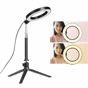 """6"""" LED Ring Light with Stand 5500K Dimmable Lighting Kit For Makeup Youtube Live 711811931291"""