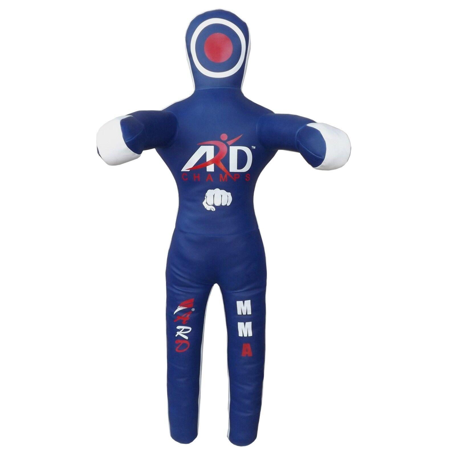 Brazilian Straight Grappling Dummy Art Leather Boxing Judo MMA 4ft 5ft 6ft Blau