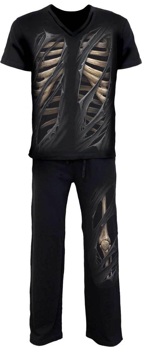 SPIRAL SPIRAL SPIRAL DIRECT BONE RIPS 4 PIECE Mens Pyjama Set Skeleton Goth Rock Nightwear Top a0159f