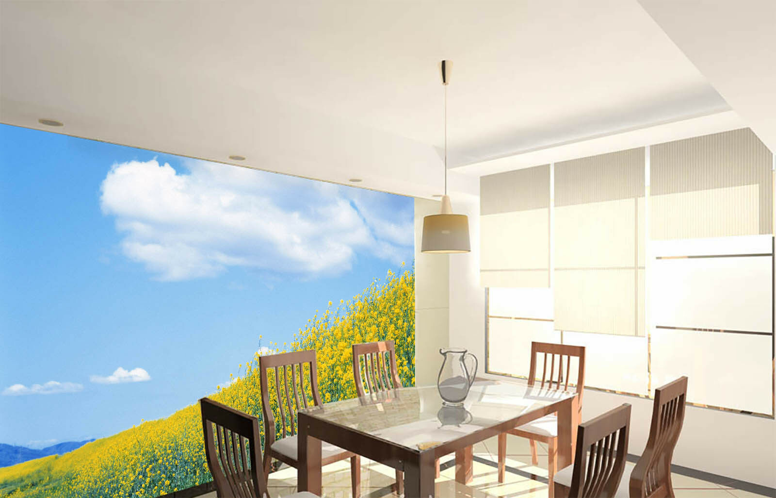 3D Sky Yellow Flower 6 Wall Paper Wall Print Decal Wall Deco Indoor Mural Summer