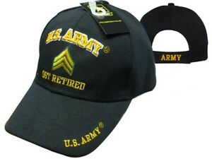 2de98ea031140 U.S. Army SGT Retired Embroidered 3D Black Ball Cap Hat(Licensed ...